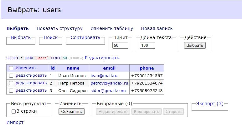 Заполненная таблица users